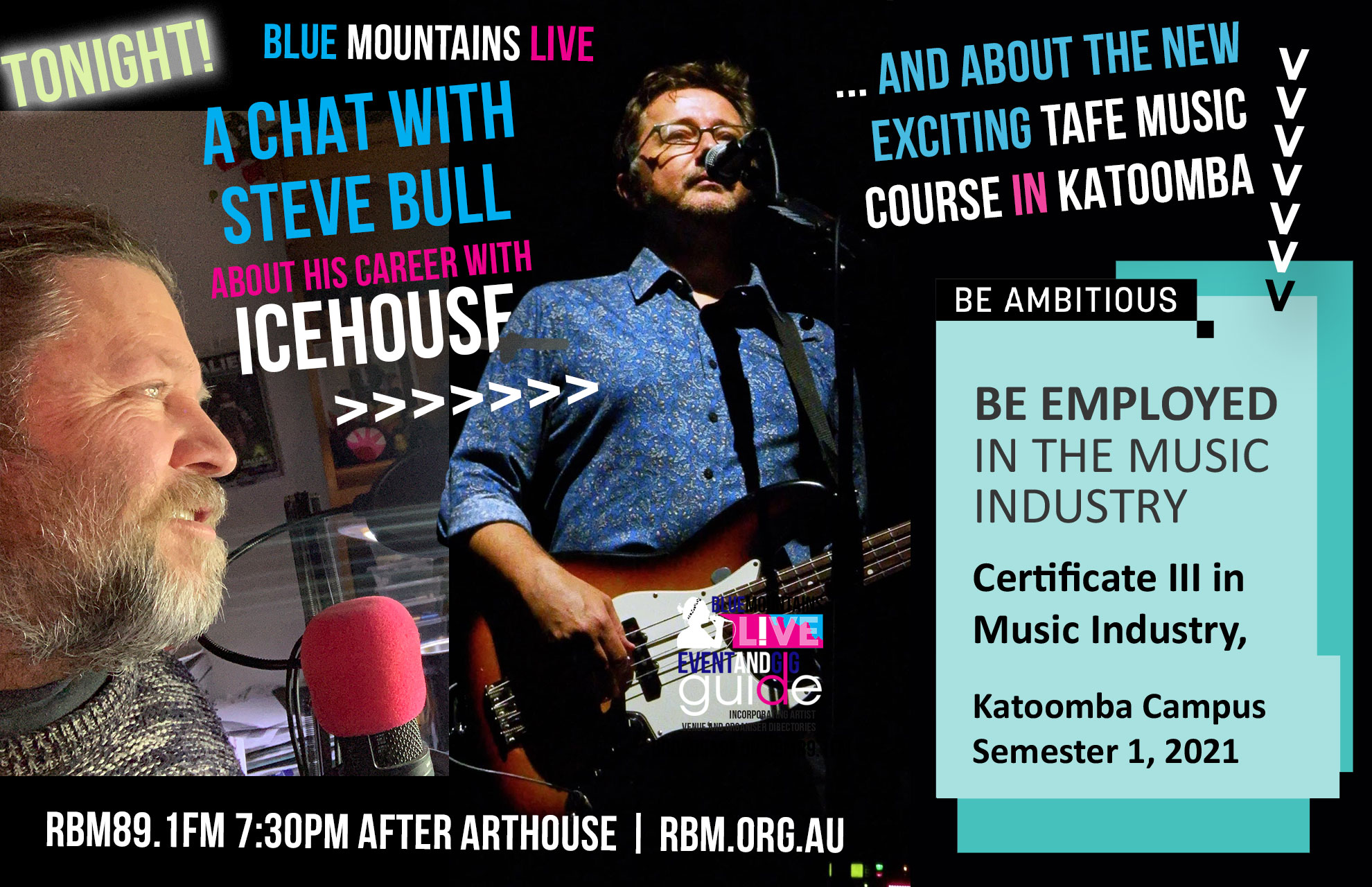 Blue Mountains Live | TAFE MUSIC INDUSTRY COURSE and STEVE BULL (ICEHOUSE)